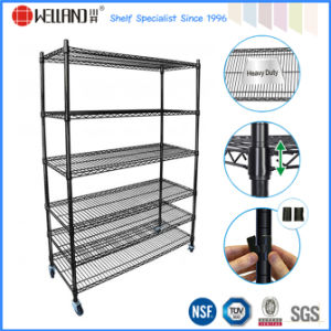 Adjustable 6 Tier Powder Coating Metal Stacking Wire Shelf Manufacturer pictures & photos