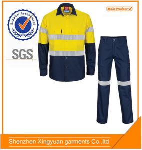 Star Sg Qualitied Factory Price 100% Cotton Workwear Safety Shirt and Pants Suit