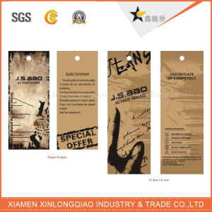 Label Printing Kraft Paper String Hole Cloth Garment Hang Tags pictures & photos