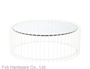 Round Tempered Glass Coffee Table with Black Powder Coated Frame pictures & photos