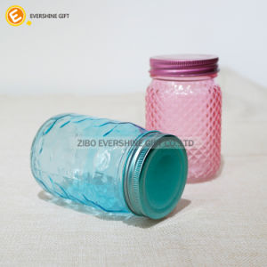 430ml Embossed Beverage Mason Storage Glass Jar pictures & photos