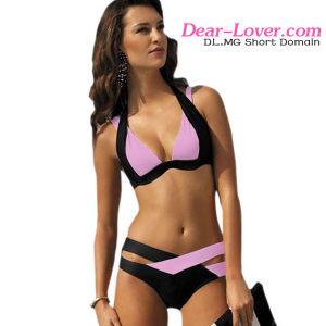 Black Pink Color Block Push up Bikini Swimwear pictures & photos