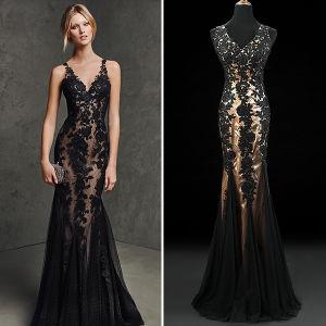 Black Lace Tulle Mermaid Evening Dresses (TM-ED001)