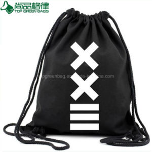 Simple School Bag Organic Black Cotton Drawstring Backpack Bag pictures & photos
