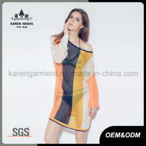 Women Long Sleeve Backless Striped Mesh Sexy Dress pictures & photos