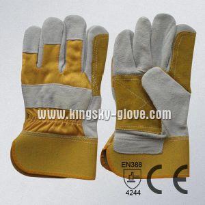 Cow Split Leather Double Palm Glove pictures & photos