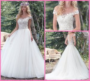 Tulle Bridal Ball Gowns Beads Lace off Shoulder Plus Size Wedding Dress S201782 pictures & photos