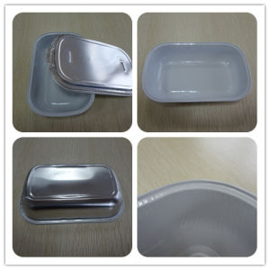 Colored Inflight with Lid for Meal Rectangle Foil Container pictures & photos