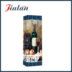 128GSM Glossy Laminated Art Paper Wine Bottle Gift Paper Bag pictures & photos