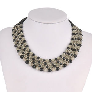 Full Diamonds on Metal Cups in 3 Rolls Fashion Necklace (XJW13604) pictures & photos