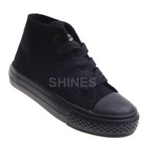 High Top Black Canvas Vulcanized Shoes for Women
