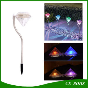 Outdoor Stainless Steel LED Solar Path Way Light RGB Diamend Garden Lawn Landscape Lamp pictures & photos