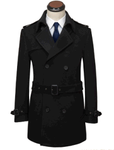 Top-Quality Men′s Winter Woolen Long Coat with Belt pictures & photos