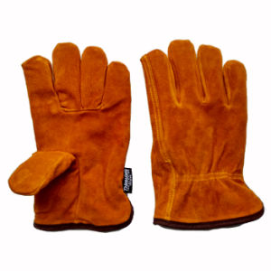 Cow Split Leather Winter Drivers Working Gloves with Thinsulate Full Lining pictures & photos