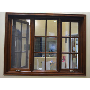 Aluminium Wood Casement Window with Crank Lock K03037 pictures & photos