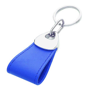 Promotion Gift Metal Keyring Leather Keychain with Stamp Logo (F3027) pictures & photos