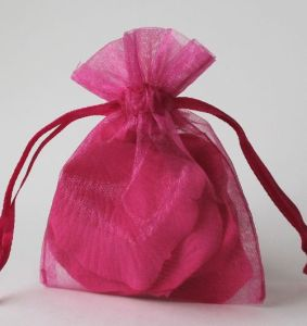 Drawstring Gift Pouches Made of Organza with Gold Foil Stamping pictures & photos
