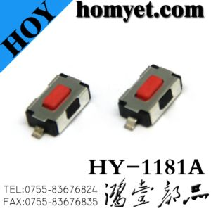 Tact Switch with 3*6*2.5mm Square Red Button Flat Foot 2 Pin SMD (HY-1181P-R) pictures & photos