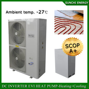 Evi Tech -25c Winter Floor Heating 100~350sq Meter Room 12kw/19kw/35kw Auto-Defrost Split Heat Pump DC Inverter Water Heater pictures & photos