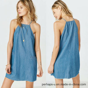 New Collection Ladies Denim Slip Dress pictures & photos