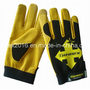New Design Cow Leather Mechanical Working Hand Protect Gloves pictures & photos