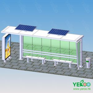 Solar Outdoor Advertising Bus Stop Shelter with Trash Bin Light Box pictures & photos