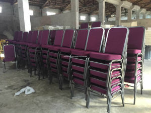 Molded Seat Interlocking Stackable Metal Church Banquet Hall Chairs (JY-G12) pictures & photos