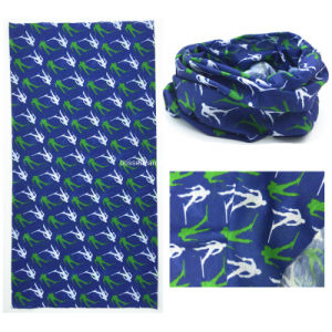 Factory Produce Customized Logo Print Blue Polyester Microfiber Neck Tubular Scarf with Cardboard pictures & photos