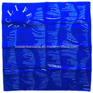 China Factory Produce Custom Design Paisley Print Blue Cotton Scarf pictures & photos