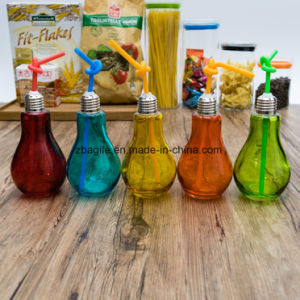 Factory Wholesale Glass Bulb Juice Bottle with Straw 100009 pictures & photos