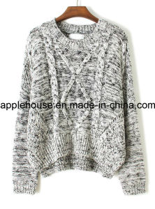 Lady′s Fashion Crochet Shoulder Knit Pullover Sweater