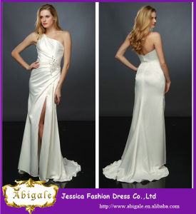 2014 New Arrival Sexy Satin One Shoulder A Line Ivory Open Leg Prom Dress with Applique (YC024)