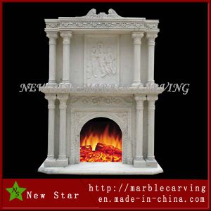 Double Side Fireplace Surround/ Overmantel in White Marble pictures & photos