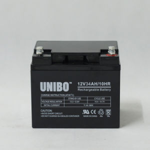 Solar Battery 12V34ah High Quality Solor System AGM Lead Acid Battery pictures & photos