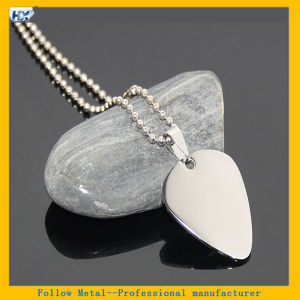 60cm Guitar Pick Necklace High Polished Mirror Effect Stainless Steel Blank Metal Dog Tag
