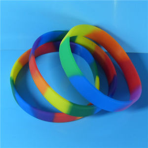 1/2 Inch Segmented Rainbow Color Blank Silicone Wristbands pictures & photos