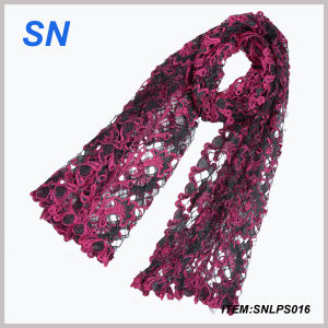 Flower Polyester Lace Scarf with Fringe (SNLPS016) pictures & photos