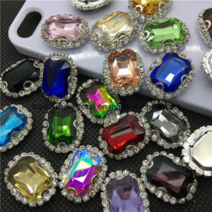 Sewing Glass Crystal Sew on Rhinestones with Claw Setting for Evening Dress (SW-rectangle 13*18mm) pictures & photos