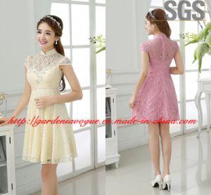 Elegant Short Cheap Prom Dress SGS High Neck Bridesmaid Dress (GDNY509)