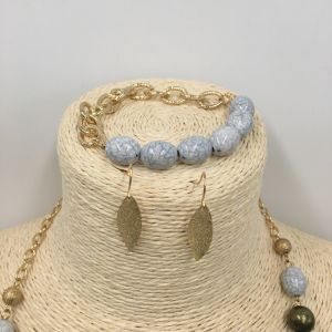 Gold Plated Jewelry Sets with Beads Necklace and Leaf Earring and Bracelet pictures & photos
