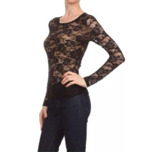 Women Fashion Clothes Sexy Lace Long Sleeve Knitted T-Shirt pictures & photos