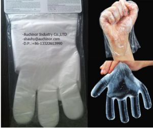 Disposable PE Plastic 2PCS Folded Gloves in Pair pictures & photos
