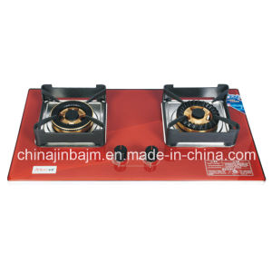 2 Burner Red Tempered Glass Build-in Gas Stove pictures & photos