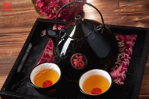 Bone China Tableware Black Ceramic Teapot Dinner Set (TP-47B)