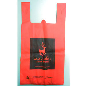Red PP Non-Woven Shopping Bag with Black Printing