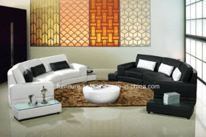 Wood Frame Small Living Room White and Black Leather Sofa with Tables