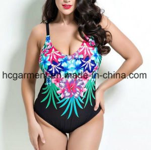 Large Size Swimsuit for Women, Plus-Size One-Piece Printed Swimming Wear pictures & photos