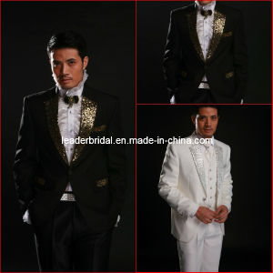 Custom Made Top Quality Black White Gold Suits Formal Groom Tuxedo for 4 Pieces-Coat+Pants+Vest+Necktie M-I-C (5) pictures & photos