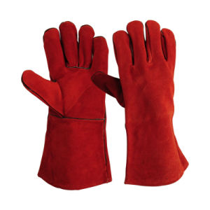 "14"" Cow Split Leather Welding Gloves Heat Resistant Ce pictures & photos"