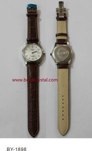 Stainless Steel Watch with Leather Strap, Fashion Watch, Gift Watch